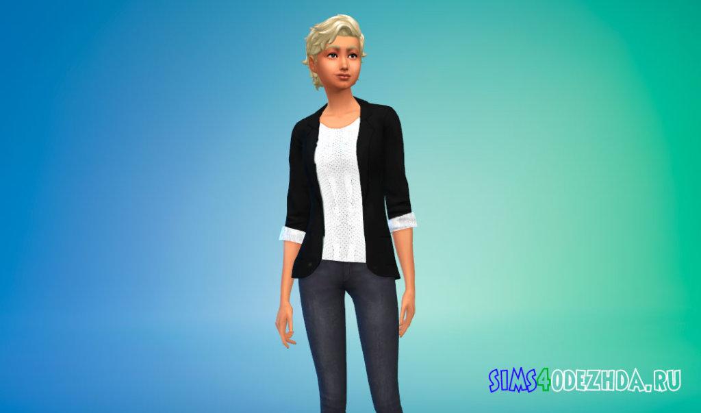 Пиджак с кружевной блузкой для Симс 4 - фото 3