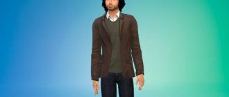 Пиджак с рубашкой для мужчин для Симс 4 - фото 1