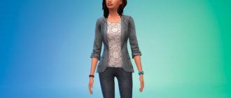 Пиджак с цветочной блузкой для Симс 4 - фото 1