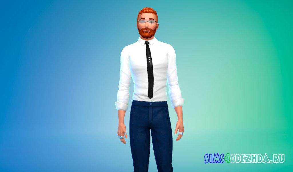 Стильная рубашка с галстуком для Симс 4 - фото 1
