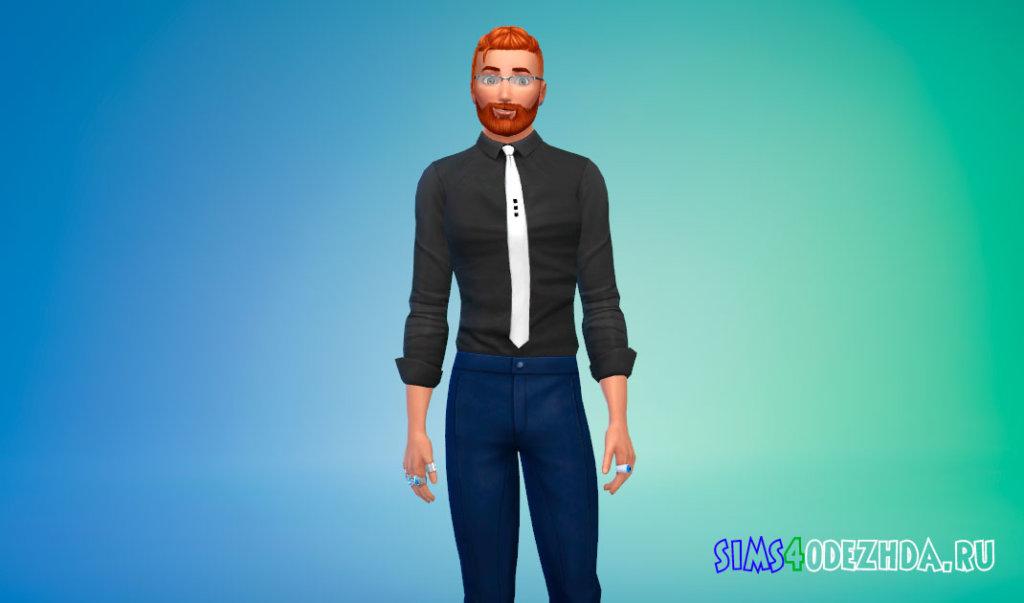 Стильная рубашка с галстуком для Симс 4 - фото 2