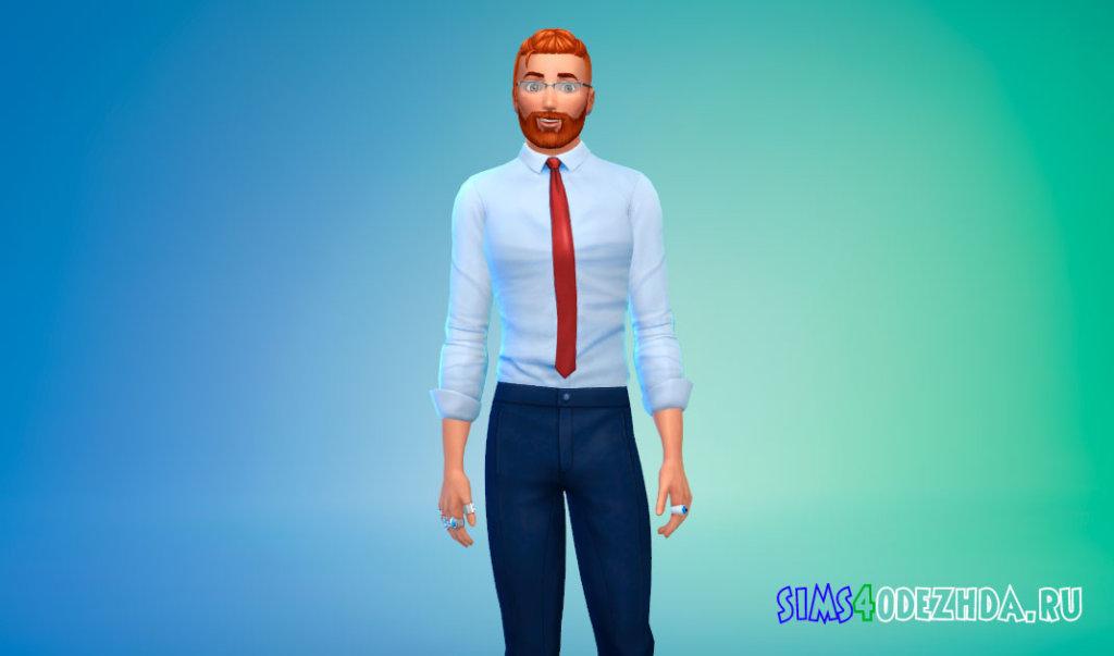 Стильная рубашка с галстуком для Симс 4 - фото 3
