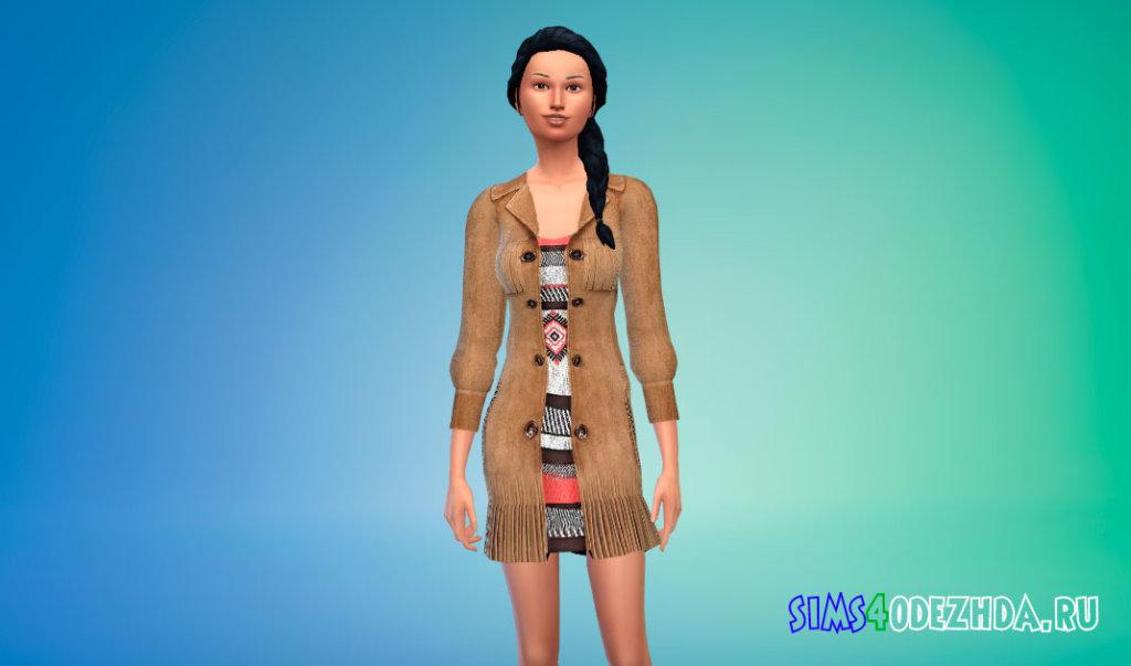 Стильное длинное пальто для женщин для Симс 4 - фото 1