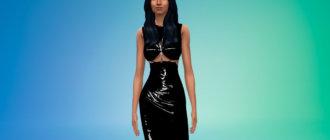 Стильное латексное платье для Симс 4 - фото 1