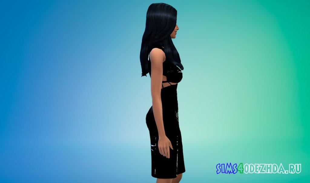 Стильное латексное платье для Симс 4 - фото 2