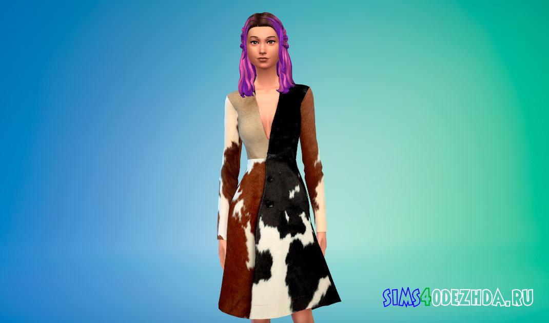 Стильное пальто с V-образным вырезом для Симс 4 - фото 1