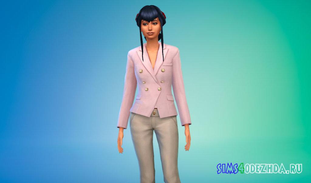 Стильный женский пиджак для Симс 4 - фото 2