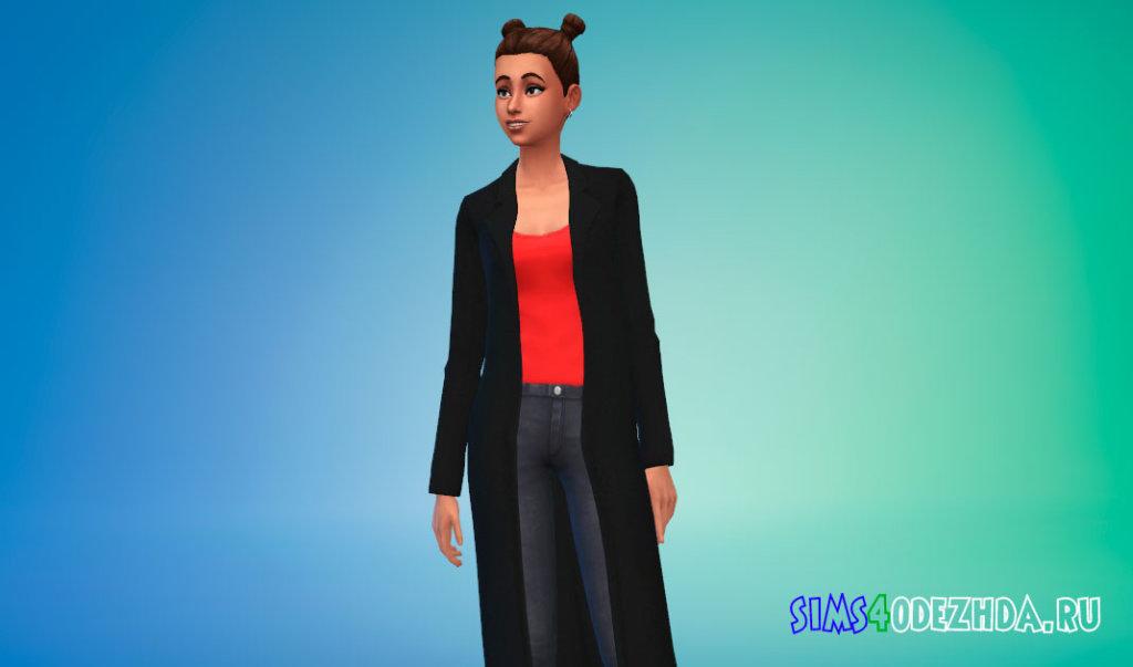 Шерстяное женское пальто для Симс 4 - фото 1