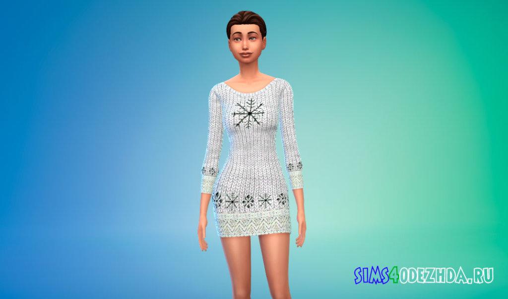Вязаное зимнее платье для Симс 4 - фото 1