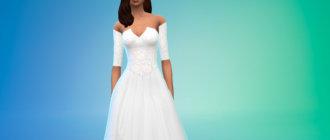 Длинное кружевное белое платье для Симс 4 - фото 1