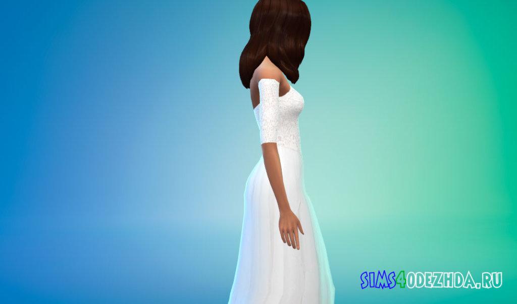 Длинное кружевное белое платье для Симс 4 - фото 2