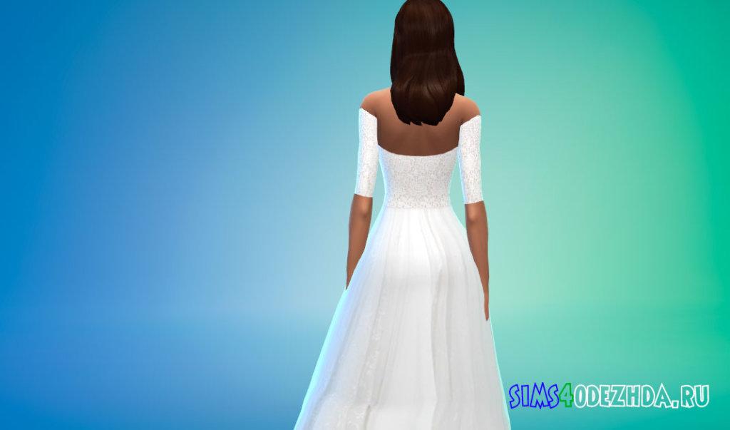 Длинное кружевное белое платье для Симс 4 - фото 3