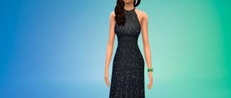 Длинное платье с открытой спиной для Симс 4 - фото 1