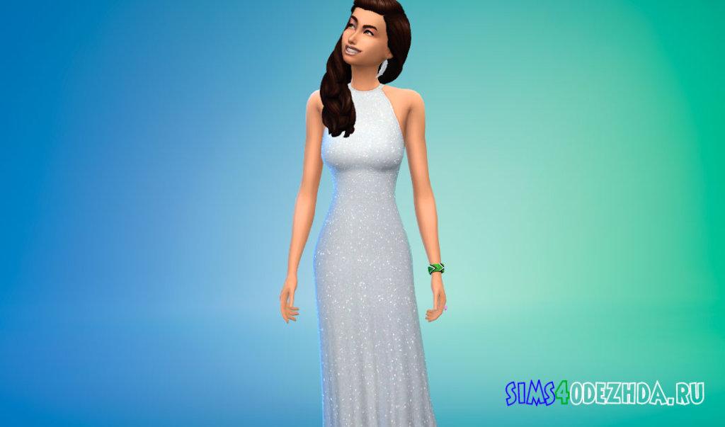 Длинное платье с открытой спиной для Симс 4 - фото 2