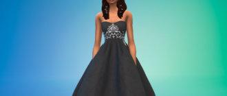 Длинное свадебное платье с открытыми плечами для Симс 4 - фото1