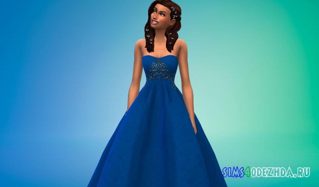 Длинное свадебное платье с открытыми плечами для Симс 4 - фото3