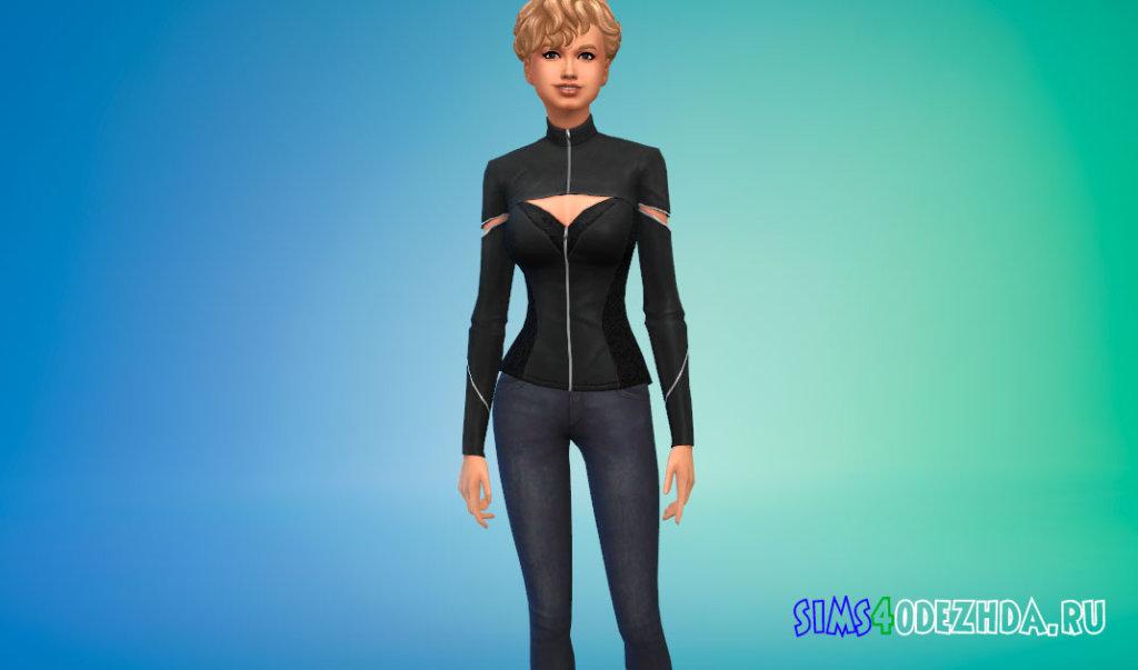 Женская куртка с вырезом для Симс 4 - фото 1
