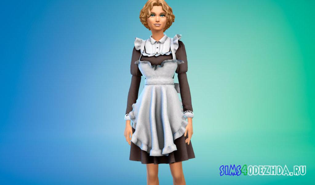 Классический костюм горничной для Симс 4 - фото 1