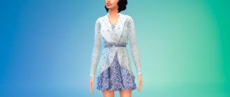 Короткое платье с кардиганом для Симс 4 - фото 1