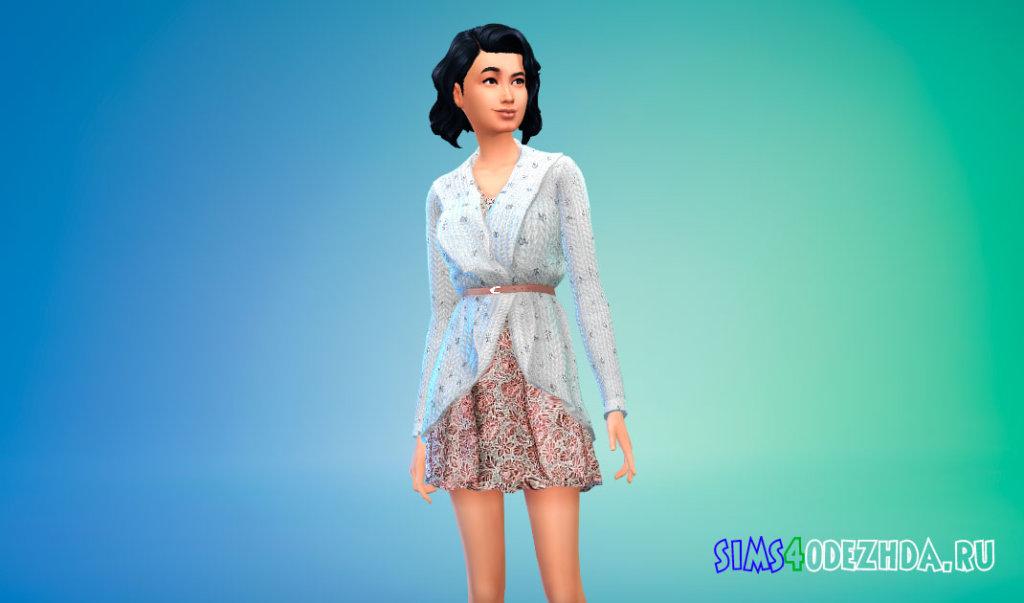 Короткое платье с кардиганом для Симс 4 - фото 2