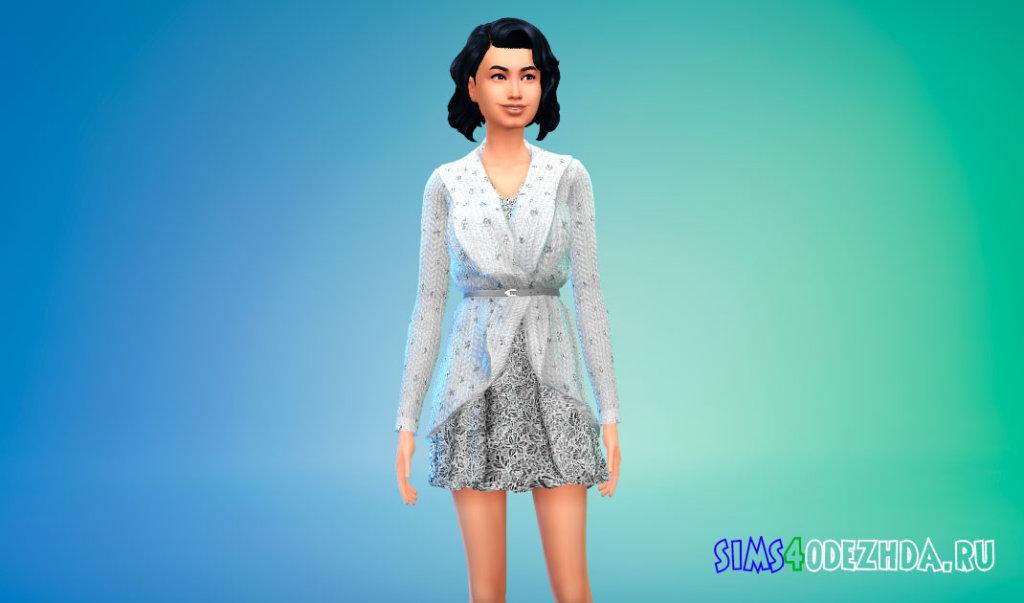 Короткое платье с кардиганом для Симс 4 - фото 3