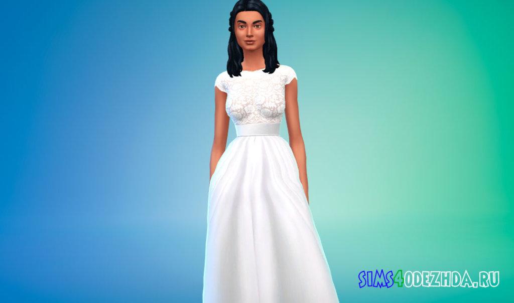 Кружевное свадебное платье с поясом для Симс 4 - фото 1