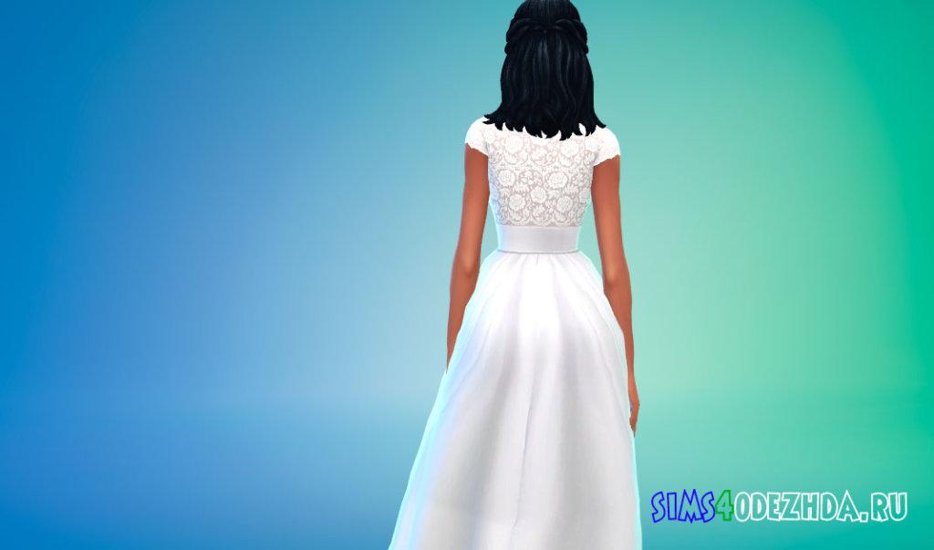 Кружевное свадебное платье с поясом для Симс 4 - фото 2