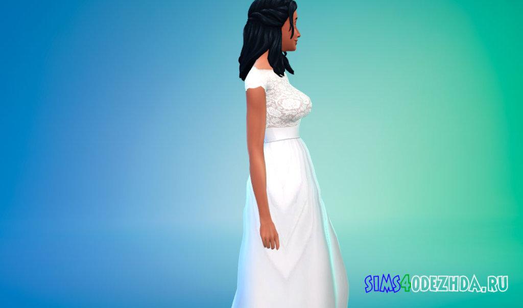Кружевное свадебное платье с поясом для Симс 4 - фото 3