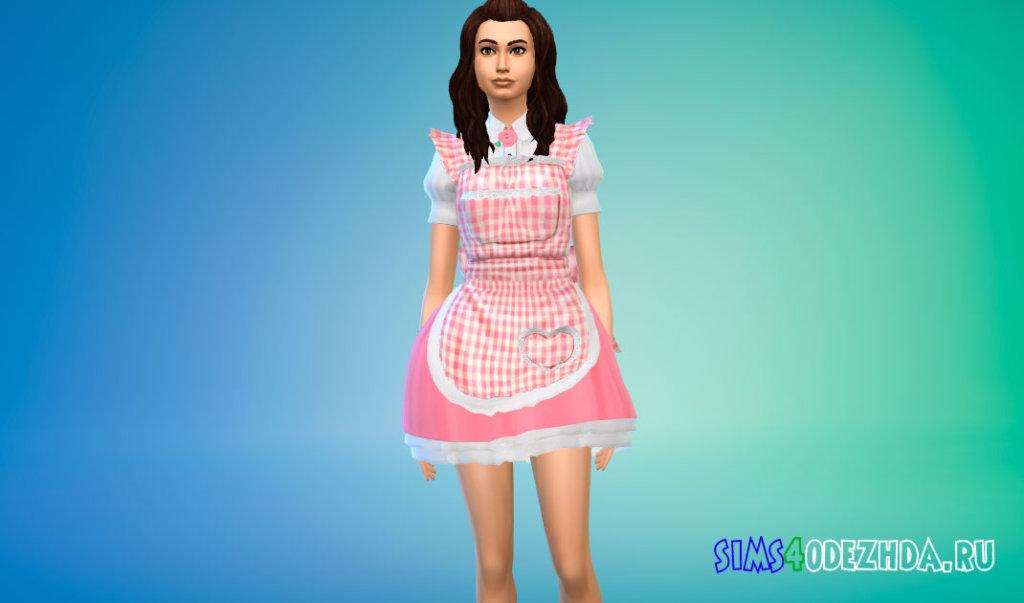 Милый костюм домработницы для Симс 4 - фото 1