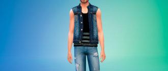 Мужская джинсовая жилетка для Симс 4 - фото 1