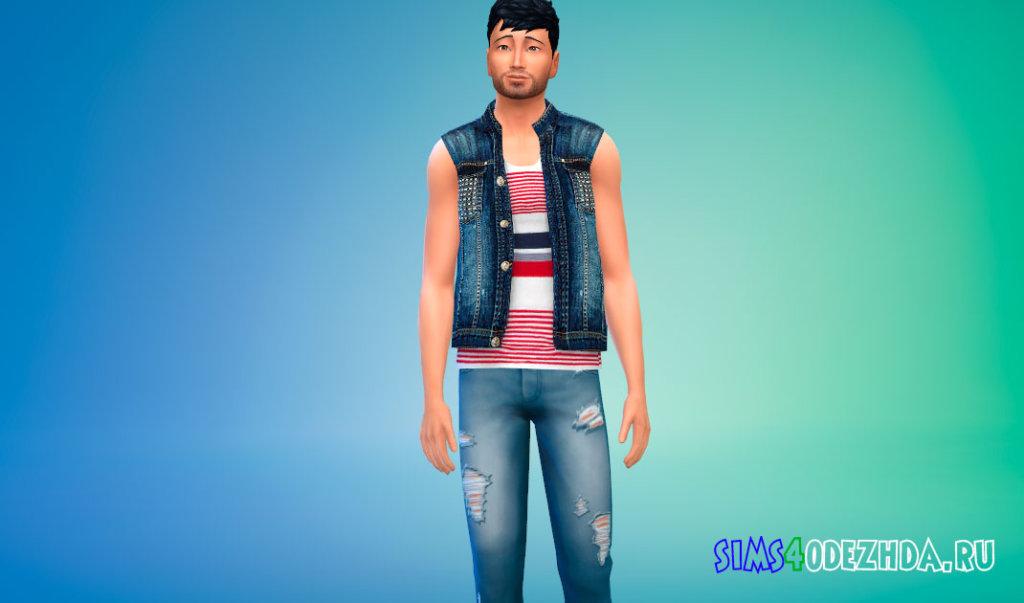 Мужская джинсовая жилетка для Симс 4 - фото 2