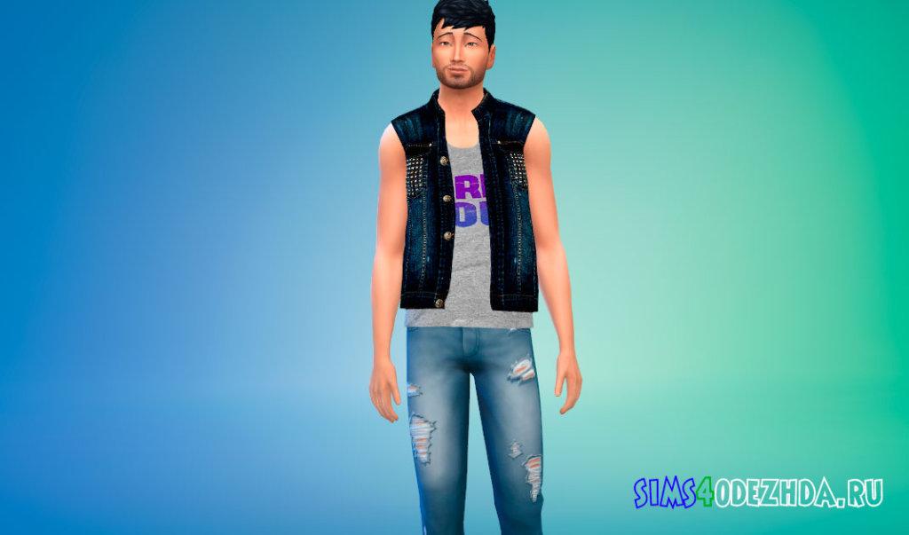 Мужская джинсовая жилетка для Симс 4 - фото 3