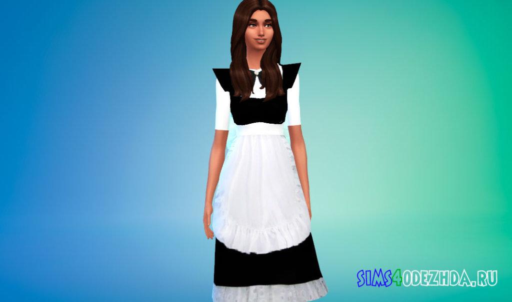 Платье горничной для Симс 4 - фото 1