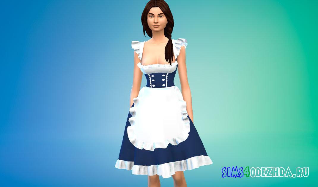 Платье горничной с глубоким вырезом для Симс 4 - фото 1