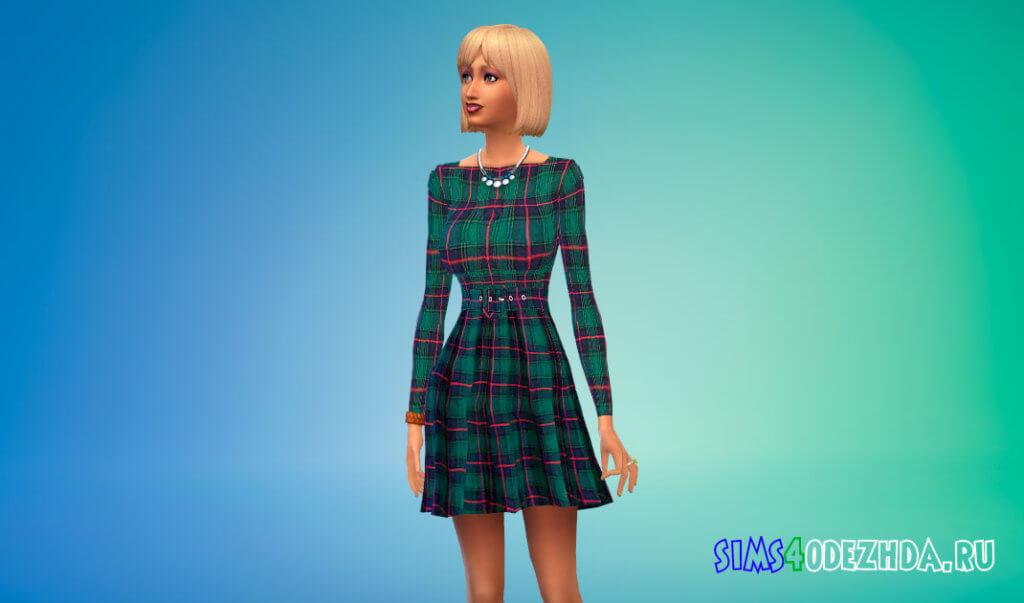 Платье с красивым рисунком для Симс 4 - фото 1