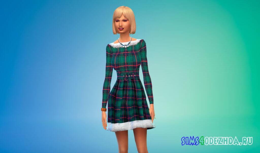 Платье с красивым рисунком для Симс 4 - фото 2