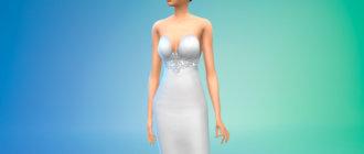 Платье-трампет с глубоким вырезом для Симс 4 - фото 1
