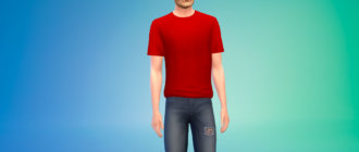 Простая и удобная футболка для мужчин для Симс 4 - фото 1