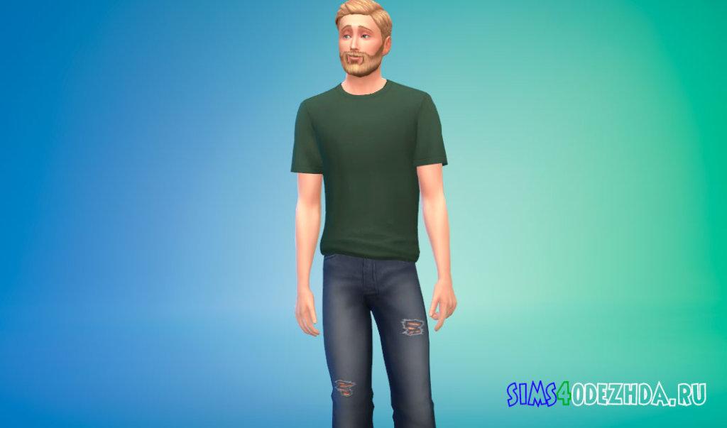 Простая и удобная футболка для мужчин для Симс 4 - фото 2