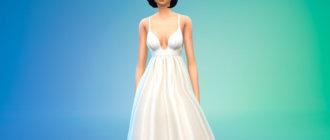 Простое пышное свадебное платье для Симс 4 - фото 1