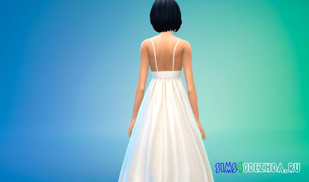 Простое пышное свадебное платье для Симс 4 - фото 3