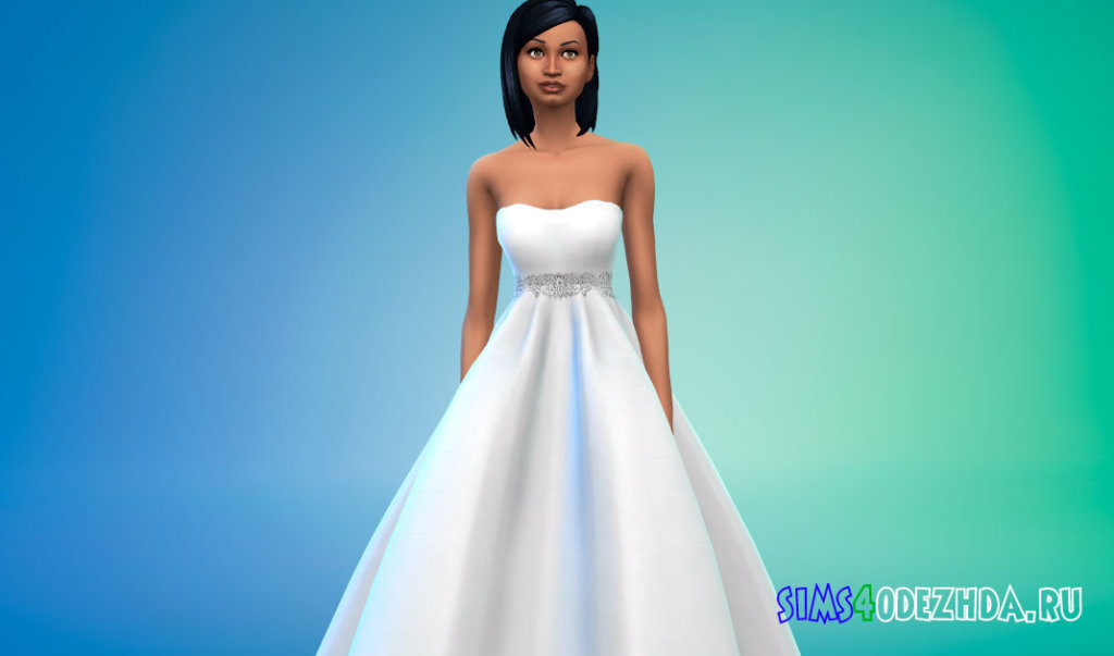 Пышное яркое свадебное платье для Симс 4 - фото 1