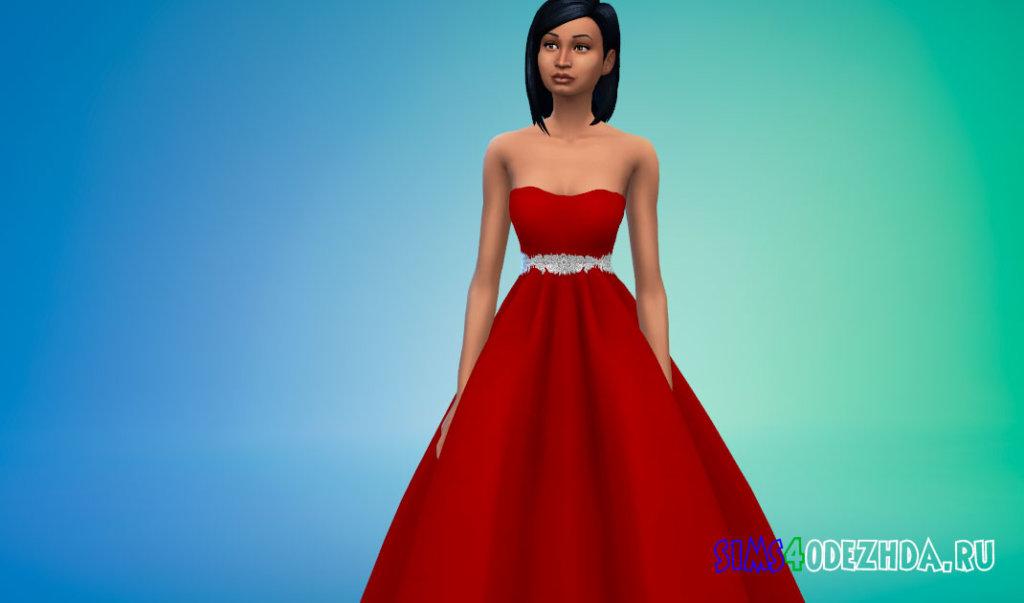 Пышное яркое свадебное платье для Симс 4 - фото 2