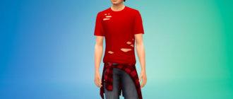 Рваная мужская футболка для Симс 4 - фото 1