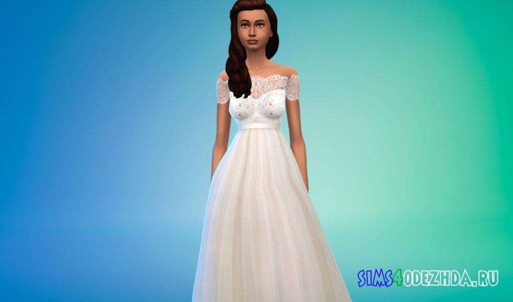Свадебное платье с короткими кружевными рукавами для Симс 4 - фото 1