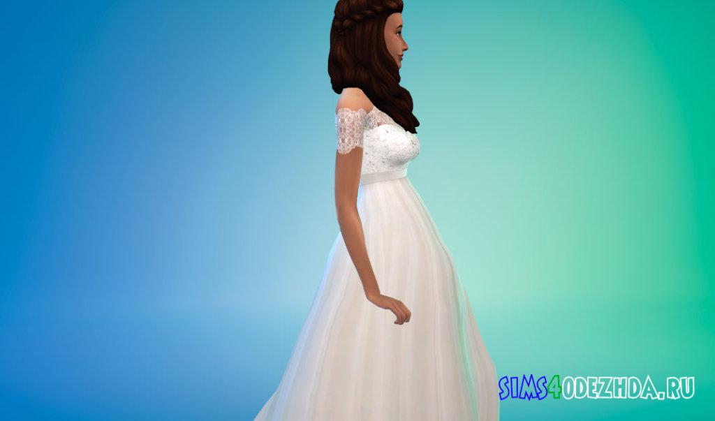 Свадебное платье с короткими кружевными рукавами для Симс 4 - фото 2