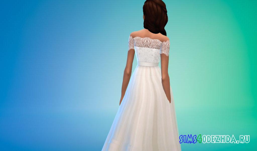 Свадебное платье с короткими кружевными рукавами для Симс 4 - фото 3