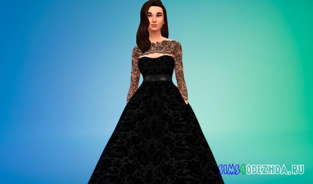 Свадебное платье с кружевными рукавами для Симс 4 - фото 1