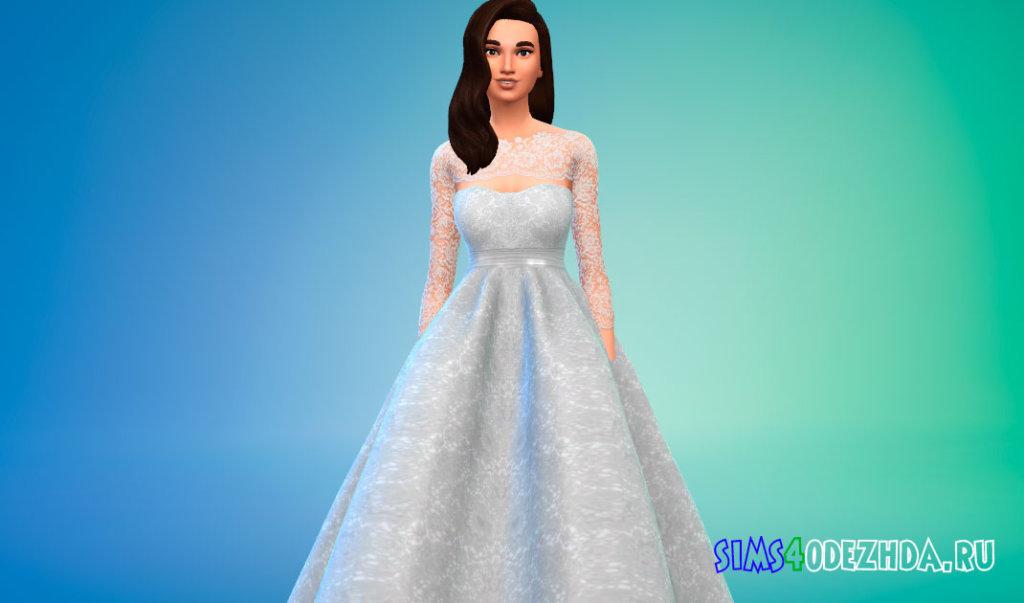 Свадебное платье с кружевными рукавами для Симс 4 - фото 2