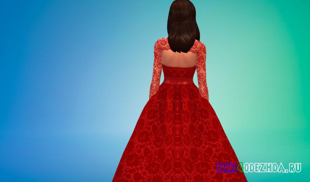 Свадебное платье с кружевными рукавами для Симс 4 - фото 3